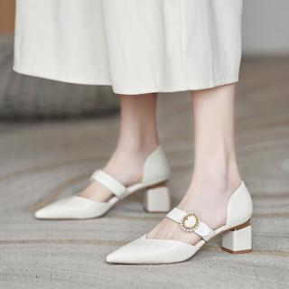 KAISER 凯撒 女单鞋凉鞋女皮鞋尖头高跟鞋中跟粗跟日常鞋通勤鞋