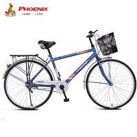 PHOENIX 凤凰 Phoenix)自行车成人男式通勤26英寸复古城市骑行普通代步车单速钢架通勤车男水滴仿捷  亚黑色