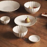 蓝莲花家居创意复古菊花纹系列餐具家用盘子米饭碗菜盘水果盘碟子
