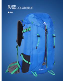 CAMEL 骆驼 户外登山包35L大容量背包旅游野营徒步双肩包防泼水耐磨包包 A1S3QJ104,摩洛哥蓝,35L 防泼水处理,大容量登山包