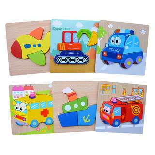 decestar DeceStar  儿童木质拼图手抓板形状配对玩具 交通6款