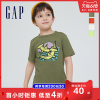 Gap男童纯棉创意印花T恤685558 2021夏季新款童装时尚个性短袖
