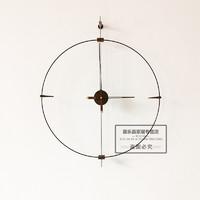 家用现代挂钟北欧美西班牙风极简约时尚客厅大尺寸时钟表 胡桃木芯直径70cm 20英寸以上