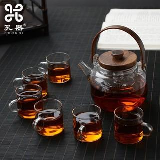 孔器木盖提梁壶玻璃煮茶壶
