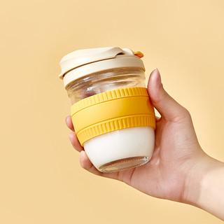 H&3 350ml便携硅胶隔热牛奶杯网红可爱双饮杯吸管杯子玻璃水杯