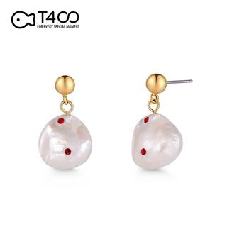T400 不对称珍珠设计OL风精致S925银耳钉