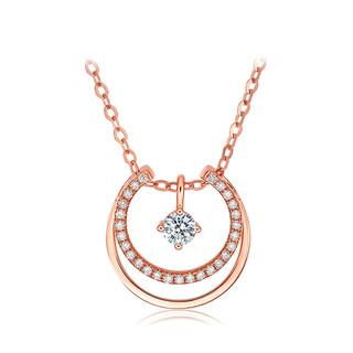 ZLF 周六福 18k金项链女钻石项链女双环钻石吊坠k金套链