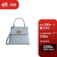 FURLA 芙拉 21SS春夏 奢侈品 1927系列女士灰蓝色小号手提斜跨包