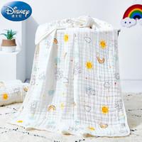 Disney baby 迪士尼宝宝(Disney Baby) 6层纯棉婴儿纱布浴巾 宝宝洗澡巾抱毯包巾新生儿童家纺大毛巾被盖毯 薄荷绿*1条