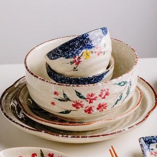 芯光秀 家用日式和风餐具套装碗组合吃饭碗简约釉下彩陶瓷雪花釉碗盘套装