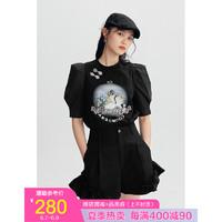 太平鸟国风上衣女2021夏季新款黑色泡泡袖t恤 黑色 L