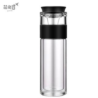 花间道 玻璃杯双层防烫茶水分离杯 380ml黑色
