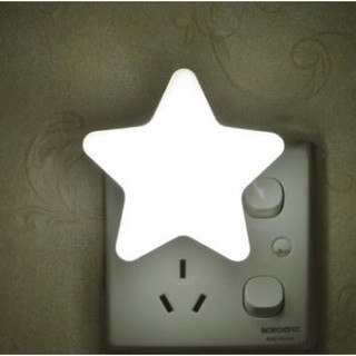 QIFAN 启梵 小夜灯婴儿喂奶睡眠卧室床头插电护眼插座led节能台灯小灯 光控星星灯-白光(天黑即亮)(无遥控)