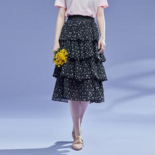 La Chapelle 拉夏贝尔 旗下女式半身裙夏季新款甜美碎花仙女裙分层蛋糕网纱裙子
