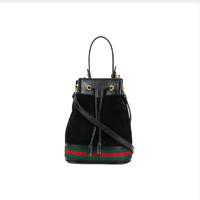 GUCCI 古驰 女士抽绳水桶包 黑色单肩斜挎包手提包 550620 时尚优雅 潮流百搭