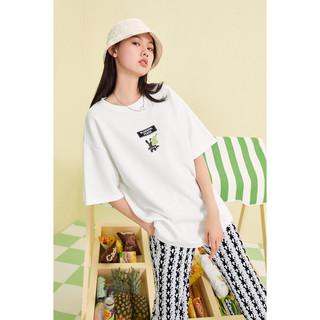 PEACEBIRD 太平鸟 设计感t恤女2021夏装新款白色中长款大码体恤女潮短袖