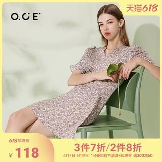 OCE 连衣裙v领2021夏季新款休闲气质短袖a字短裙法式小众碎花裙女