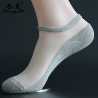 冬爱 袜子春夏季薄款女短浅口水晶玻璃丝袜男士船袜棉底冰丝隐形袜