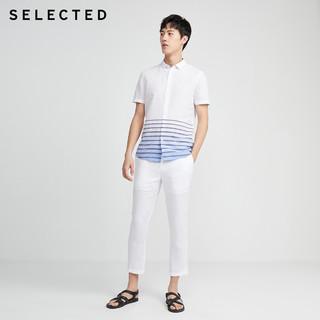 SELECTED 思莱德 棉麻薄条纹修身休闲短袖衬衫男S|420204514