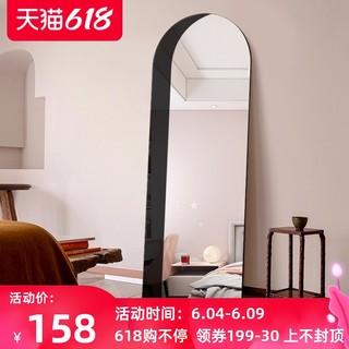 阴影镜子挂墙装饰穿衣镜拱形全身镜ins风落地镜卧室圆弧客厅壁挂