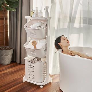 鲸言 浴室置物架落地 摇篮式脏衣篮三层