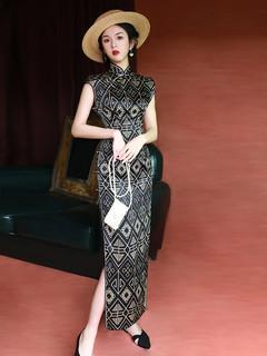 改良版黑色旗袍性感复古时尚年轻款老上海日常中国风长款连衣裙夏