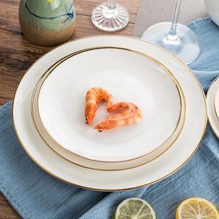 北欧盘子西餐牛排餐盘家用陶瓷菜盘纯白色金边骨瓷平盘简约早餐盘