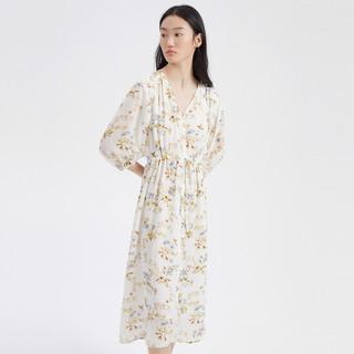ME&CITY 21夏新款女装印花仙女风雪纺中袖中长连衣裙连衣裙