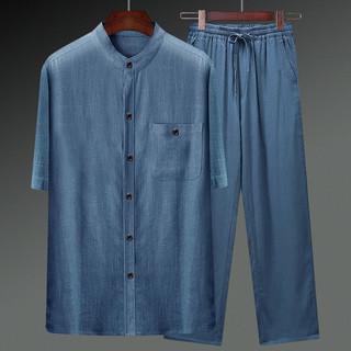 文笙 棉麻唐装男夏季薄款短袖衬衫中国风复古亚麻套装中老年人爸爸男装