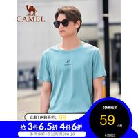 骆驼(CAMEL)男装2021夏季新款青年圆领字母印花微弹休闲短袖t恤衫男上衣蓝色XL