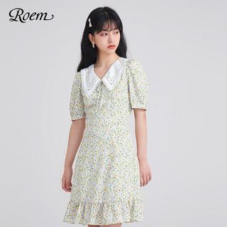 Roem 罗燕 夏季碎花连衣裙甜美衬衫法式气质泡泡袖中裙时尚收腰短袖上衣