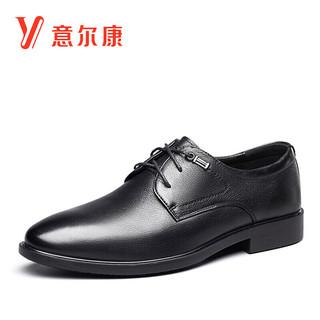 YEARCON 意尔康 男鞋圆头商务正装鞋时尚单鞋系带皮鞋 9641AE97105W 黑色 39
