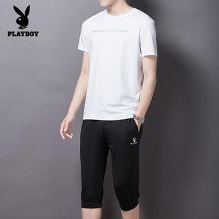 PLAYBOY 花花公子 短袖t恤男夏装体恤男士圆领套装韩版印花潮短袖短裤两件套 JP8772TZ 白色 M