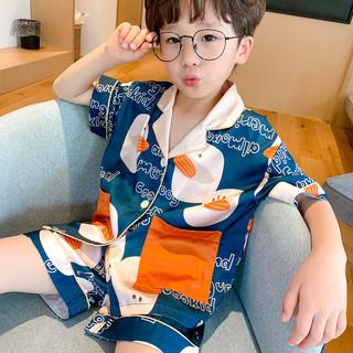 冰丝夏季儿童睡衣男童薄款短袖丝绸中大童家居服套装小男孩萌外穿