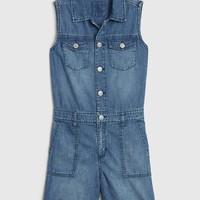 Gap 盖璞 女孩|时尚水洗无袖牛仔连体裤