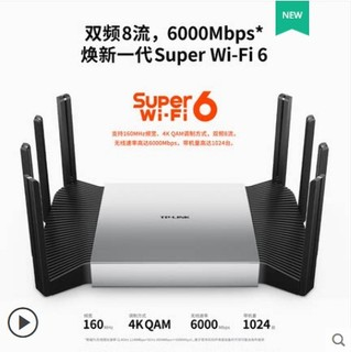 TP-LINK 普联 双频wifi6全千兆口AX6000无线路由器mesh家用稳定2.5g高速tplink光纤口TL-XDR6080易展turbo版
