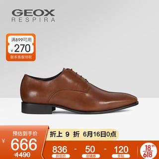 GEOX 健乐士 男鞋2021早春正装鞋皮鞋时尚德比鞋办公室U0299B B 琥珀色C6001 39