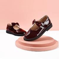 Deesha 笛莎 女童公主小皮鞋21春新款儿童中大童蝴蝶结鞋带洋气舒适鞋子