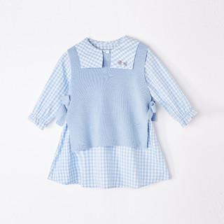 Deesha 笛莎 女童套装裙21春儿童纯棉连衣裙+针织背心两件套