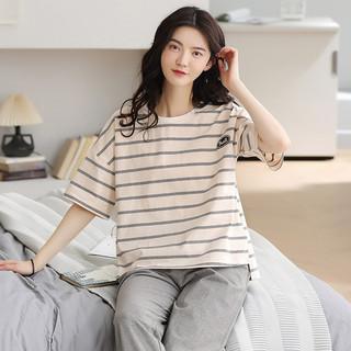 HLA 海澜之家 夏季新款女士纯棉家居服短袖长裤可外穿休闲睡衣男