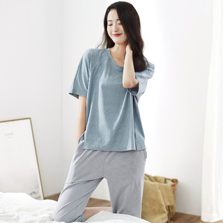 dingguagua 顶瓜瓜 睡衣女夏季薄款短袖中裤睡衣女士家居服套装可外穿
