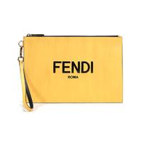 FENDI 芬迪 男士牛皮革扁平手拿包黄色黑色LOGO图案 7N0110 ADP6 F1CIA