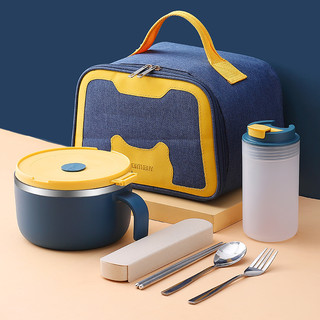 WORTHBUY 沃德百惠 304不锈钢碗家用泡面碗创意个性带盖汤饭碗日式大号餐具碗碟套装