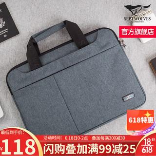 SEPTWOLVES 七匹狼 商务公文包男士时尚休闲手提包大容量牛津布电脑包 灰色
