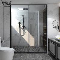 梦想岛黑色简约风一字型平开门淋浴房隔断玻璃门浴室干湿分离家用卫生间简易浴屏不锈钢屏风洗澡间一字形定制 定制透明玻璃/平方米(注:标价为一平方米的价格)