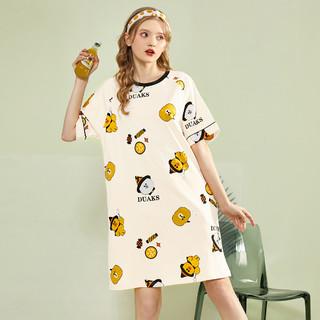 JEANSWEST 真维斯 夏季纯棉圆领短袖裙可爱睡裙可外穿T恤裙睡衣女夏