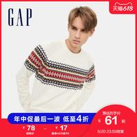 Gap男装条纹纯棉套头针织衫651941春季新款休闲内搭毛衣男