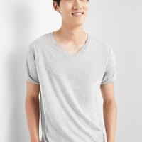 Gap 盖璞 男装|纯色简约风格V领短袖T恤