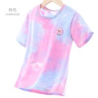 Disney 迪士尼 女童短袖T恤儿童打底衫女孩夏季薄款扎染中大童上衣洋气童装