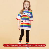 MUMUWU 木木屋 童装2021夏季新款韩版宽松女童新疆棉短袖t恤中长款儿童上衣